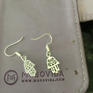Sterling silver hanging earring with hand of god